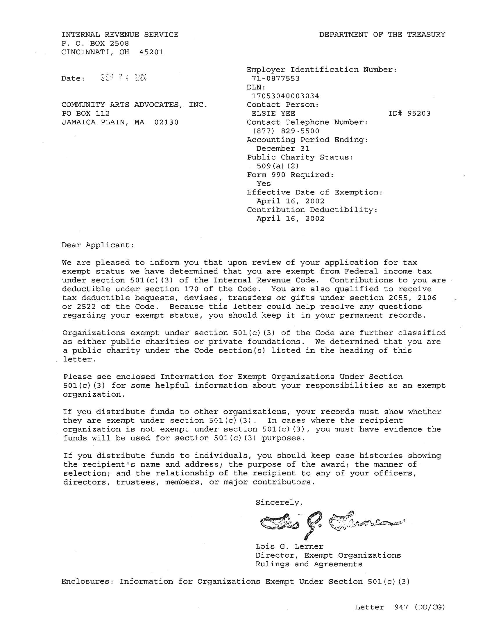internal revenue service determination letter